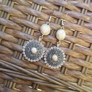 Faux white stone earrings